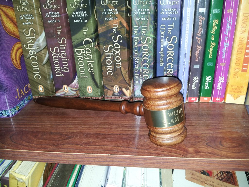 gavel on bookshelf